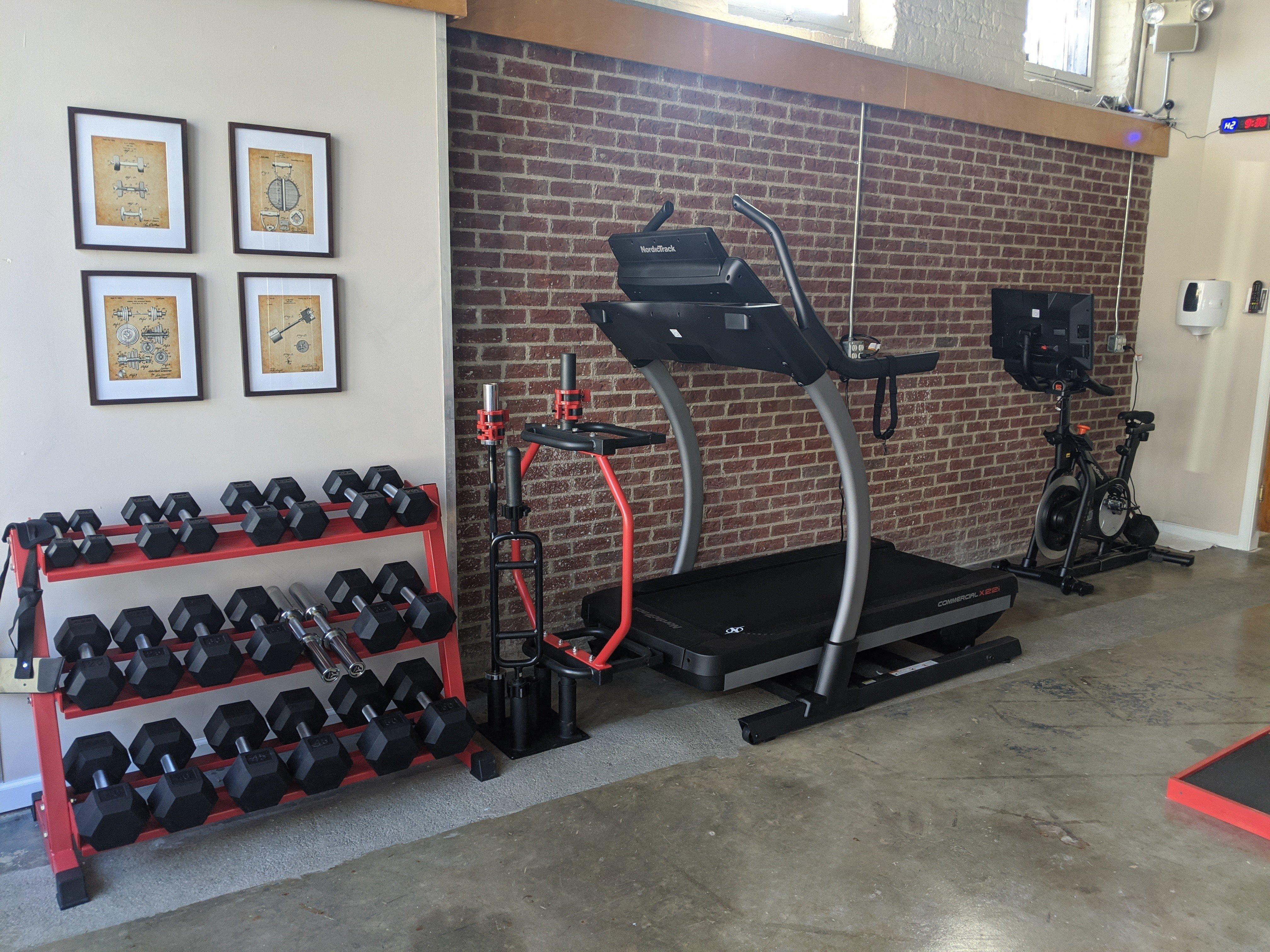 Dumbells and cardio equipment